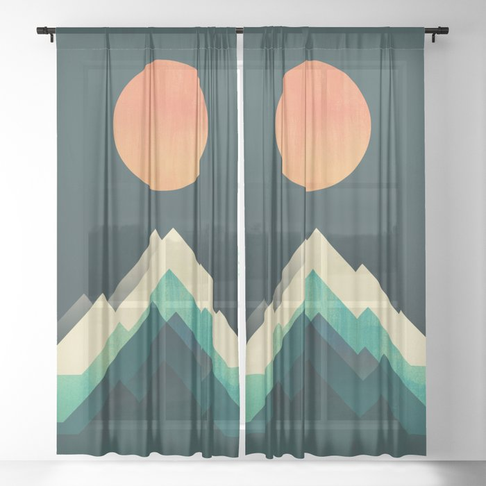 Ablaze on cold mountain Sheer Curtain