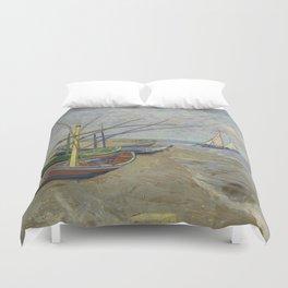 """Vincent Van Gogh """"Fishing boats on the Beach at Les Saintes-Maries-de-la-Mer"""" Duvet Cover"""