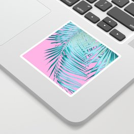 Palm Leaves Pink Blue Vibes #1 #tropical #decor #art #society6 Sticker