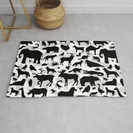 Black Silhouette Animal Pattern Rug