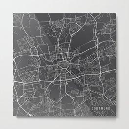 Dortmund Map, Germany - Gray Metal Print