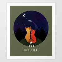 i want to believe Art Prints featuring I Want To Believe by Sutexii