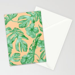 Tropical Monstera Hibiscus Botanical Pattern Green Coral Peach Stationery Cards