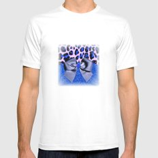 Leopard and Blue Glitters with Bow Mens Fitted Tee White MEDIUM