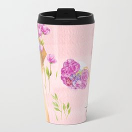 Flower Arranging Watercolor Painting Travel Mug