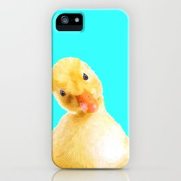Duckling Portrait Turquoise Background iPhone Case