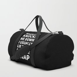 When Life Knocks Me Down I Usually Lie There and Take a Nap (Black) Duffle Bag