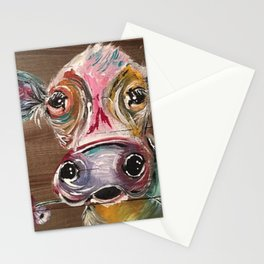 Gorgeous Cow on Wood Stationery Cards