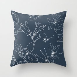 Drawings from Stonecrop Garden, Pattern in Navy Throw Pillow