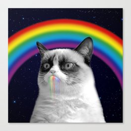 cat all over galaxy rainbow puke Space Crazy Cats Canvas Print