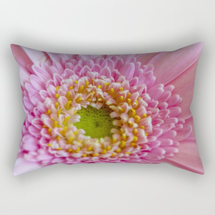 Pink Gerbera Flower in Detail with Yellow Bits Rectangular Pillow