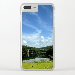Summer Cloud Parade Delaware River View Clear iPhone Case