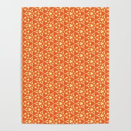Bright Orange Geometrical Pattern Poster