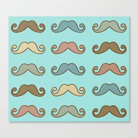 mustache Canvas Prints featuring Mustache! by Luly Lauredo
