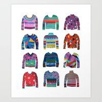 sweater Art Prints featuring Sweater Poster by Valeriya Volkova