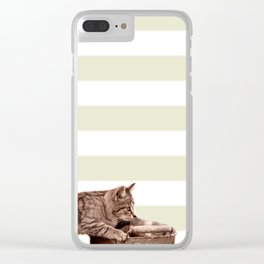 Cat Play on stripes Clear iPhone Case