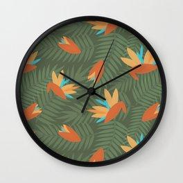 Birds of Paradise Hawaiian Shirt Pattern Wall Clock