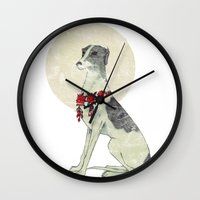 greyhound Wall Clocks featuring GREYHOUND by HOLO-HOLO