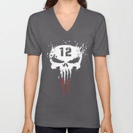 Tom Brady TB12 Punisher GOAT New Patriots Boston T-shirts Unisex V-Neck
