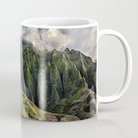 spires Mugs featuring Na' Pali Spires, Kauai, Hawaii  by Elliott's Location Photography