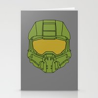 master chief Stationery Cards featuring Master Chief Helmet - Halo MCC by RoboKev