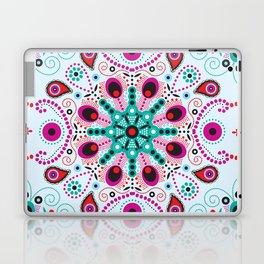 Pointillism mandala | Light blue, red and purple Laptop & iPad Skin