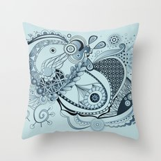 Spring tangle, colony blue Throw Pillow