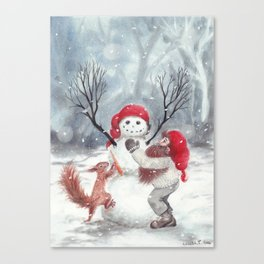 Gnome and squirrel building snowman - Christmas Canvas Print