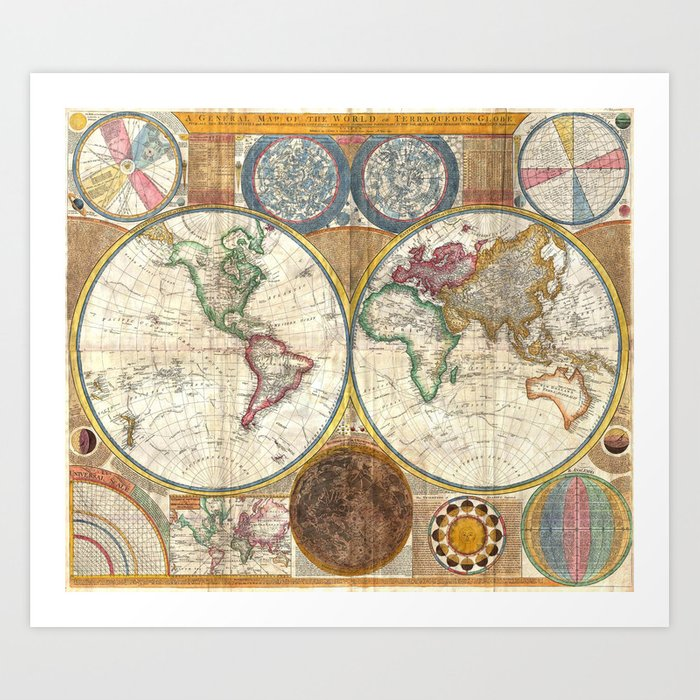 Old World Map Art Print By Paperboundlove Society6