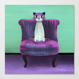Elegant Cat turquoise Canvas Print
