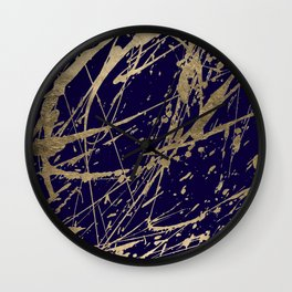 Elegant faux gold modern navy blue paint splatters Wall Clock
