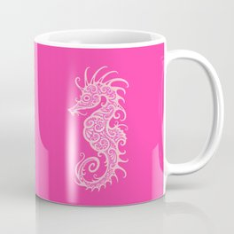 Intricate Pink Tribal Seahorse Design Coffee Mug