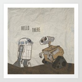 R2D2 and Wall E Art Print