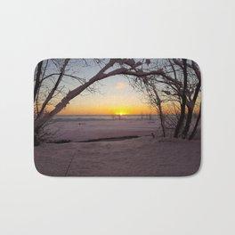 Winter Beach Sunset Bath Mat