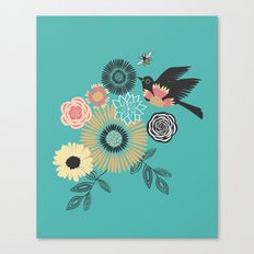 Birds & Bees - Turquoise Canvas Print