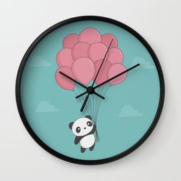 Kawaii Panda In The Sky Wall Clock