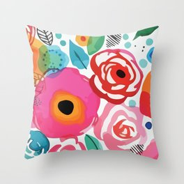 Abstract Floret Throw Pillow