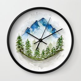 Blue watercolor mountains in the trees Wall Clock