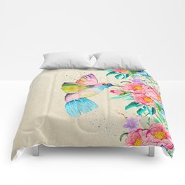 Whimsical watercolor hummingbird and  floral hand paint Comforters