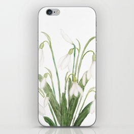white snowdrop flower watercolor iPhone Skin