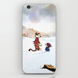 calvin hobbes snow iPhone Skin