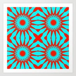 Turquoise & Red Pinwheel Flowers Art Print