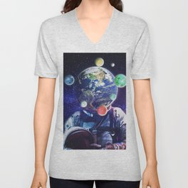 Orbital Complexion     surreal, surrealism, scifi, scifiart, graphicdesign, digitalart Unisex V-Neck