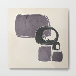Retro Abstract Design in Charcoal Grey and Aubergine Metal Print
