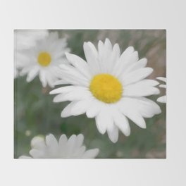 Daisies flowers in painting style 6 Throw Blanket