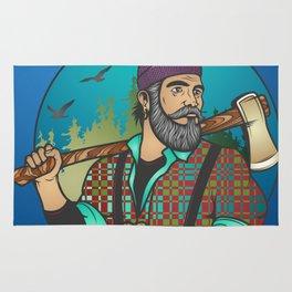 Hipster Lumberjack Blue Rug