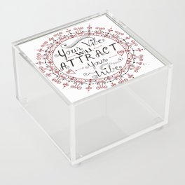 'Your Vibe Will Attract Your Tribe' Quote Mandala Red Acrylic Box
