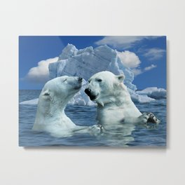 Polar Bears and Sea Metal Print