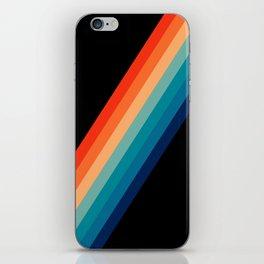 Retro 70s Stripe Colorful Rainbow Black iPhone Skin