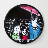 donnie darko Wall Clocks featuring Donnie Darko - At the Cinema  by Ayemaiden